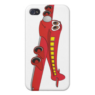 Red Passenger Jet Cartoon Case For iPhone 4