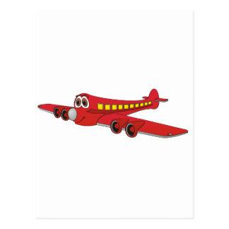 Red Passenger Jet Cartoon Post Card