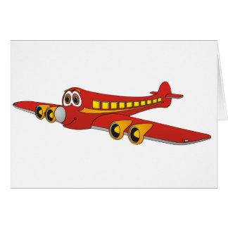 Red Passenger Jet O Cartoon Card