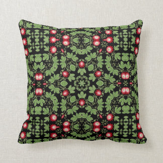 Red Passiflora Passion Flower Pillow