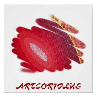 Red Passion Art Spirals Poster