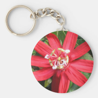 Red Passion Flower Key Chain