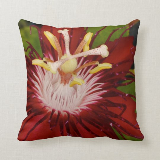 Red Passion Flower Pillow