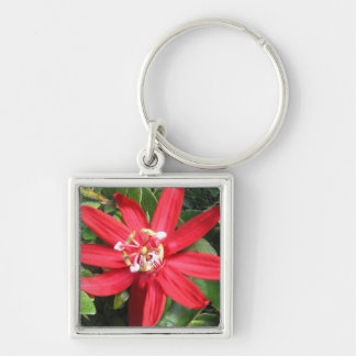 Red Passion Flower Square Key Chain
