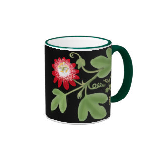 Red Passion Flower Vine Mug