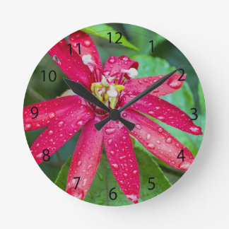 Red passion flower with raindrops round clock