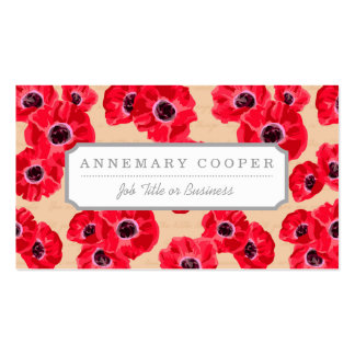 Red Passion Flowers Pattern Business Card