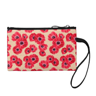Red Passion Flowers Pattern Change Purse