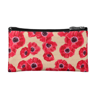 Red Passion Flowers Pattern Cosmetic Bag
