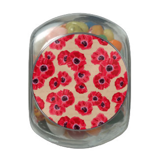 Red Passion Flowers Pattern Glass Jar
