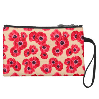 Red Passion Flowers Pattern Suede Wristlet