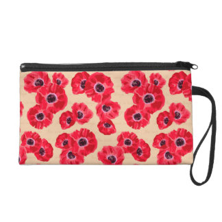 Red Passion Flowers Pattern Wristlet