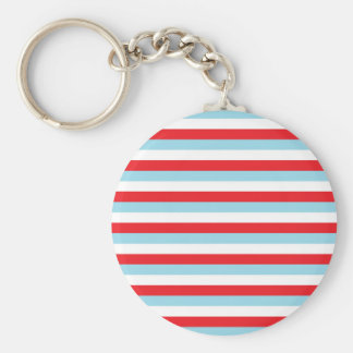 Red, Pastel Blue and White Stripes Keychain