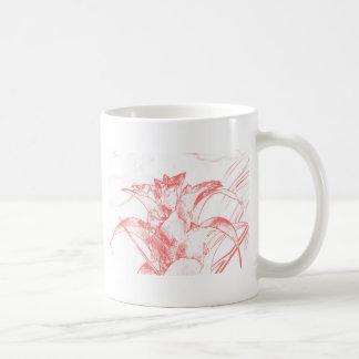 Red pastel Floral Coffee Mug