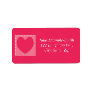 Red Patchwork Hearts Custom Address Label