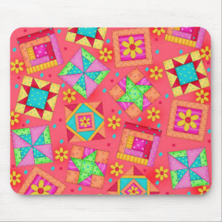 Red Patchwork Quilt Blocks Mousepad