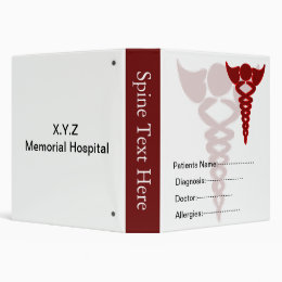 red patient's medical record book 3 ring binder