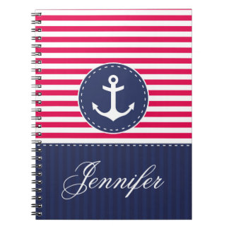 Red Pattern Blue Anchor Personalized Name Notebook
