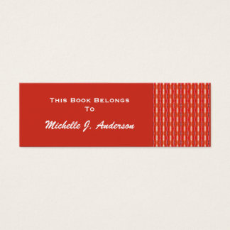 red pattern bookmark mini business card