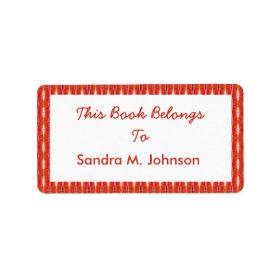 red pattern bookplates address label