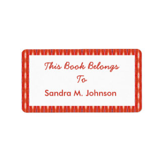 red pattern bookplates address label