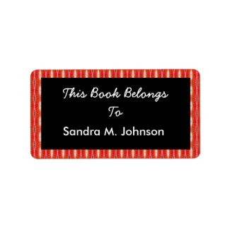 red pattern bookplates label