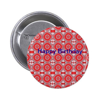 Red Pattern Pinback Buttons