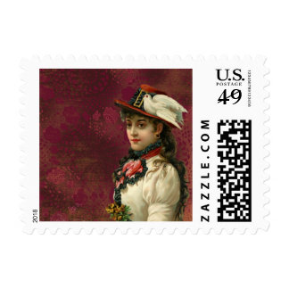 Red Pattern Edwardian Lady Stamp