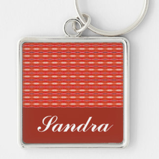 Red Pattern Silver-Colored Square Keychain
