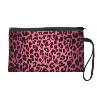 Red pattern leopard fur abstract texture wristlet clutch