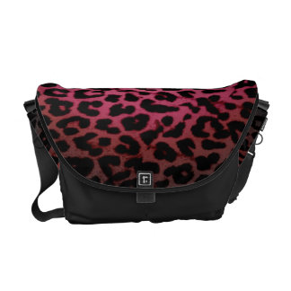 Red pattern leopard fur abstract texture commuter bag