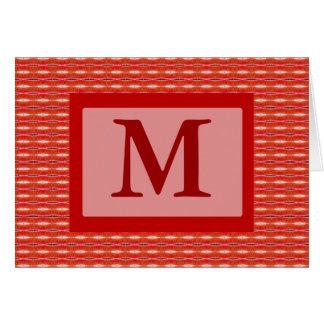 Red pattern monogram card