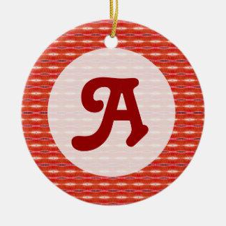 Red pattern monogram ceramic ornament