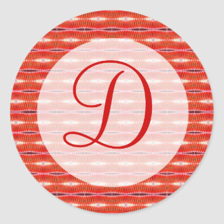 Red pattern monogram classic round sticker