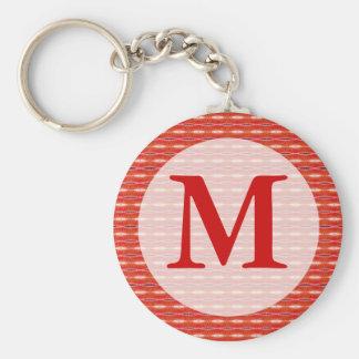Red pattern monogram keychain