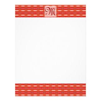 Red pattern monogram personalized letterhead