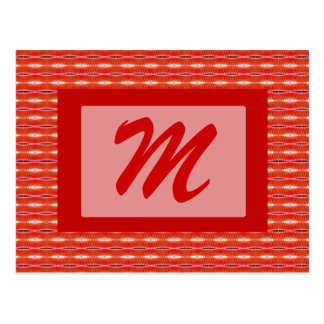Red pattern monogram postcard