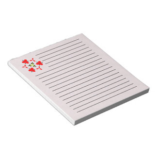 red pattern notepad