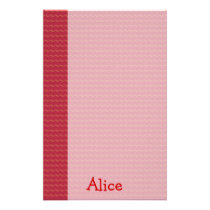Red pattern paper with name - Stationery