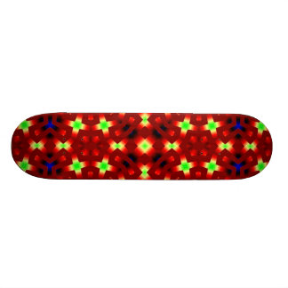 Red pattern with blue and light green skateboard deck
