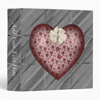 Red Patterned Heart 3 Ring Binders
