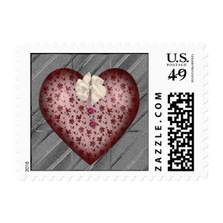 Red Patterned Heart Postage Stamp