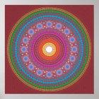 Red Patterned Mandala Poster