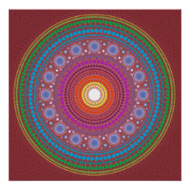 Red Patterned Mandala Poster