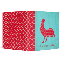 Red Patterned Rooster Silhouette 3 Ring Binder