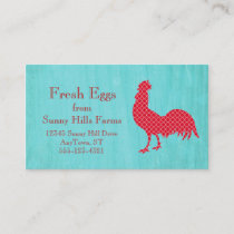Red Patterned Rooster Silhouette Business Card
