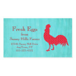Red Patterned Rooster Silhouette Business Cards