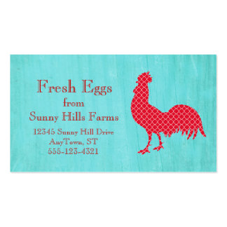 Red Patterned Rooster Silhouette Double-Sided Standard Business Cards (Pack Of 100)