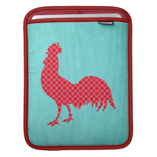 Red Patterned Rooster Silhouette Sleeves For iPads
