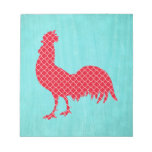 Red Patterned Rooster Silhouette Note Pad